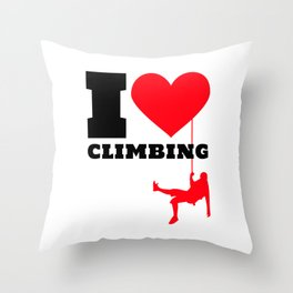 I love Climbing - Funny Climber Gift Throw Pillow