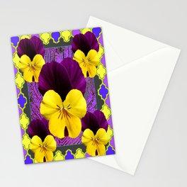 Yellow-Purple Violas Pattern Art garden Stationery Cards