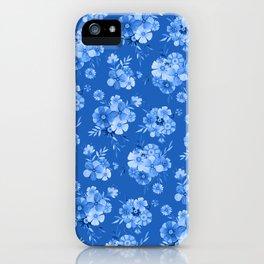 Breathe // Blue Floral Repeat iPhone Case