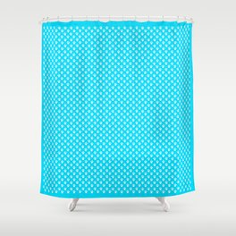 Tiny Paw Prints Pattern - Bright Turquoise & White Shower Curtain