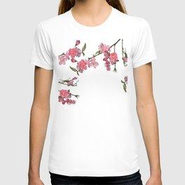 Japan Cherry Flowers white background T-shirt