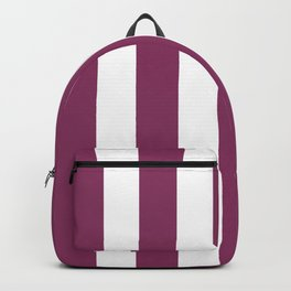 Boysenberry violet - solid color - white vertical lines pattern Backpack