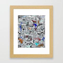 Retro Kamasutra LOVE Doodle  Framed Art Print