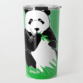 Panda Eating Bamboo Printmaking Art Travel Mug
