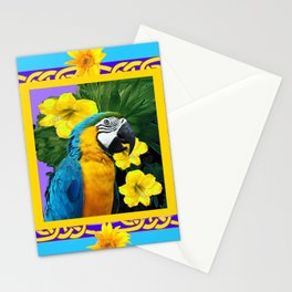 Tropical Blue & Gold Macaw Parrot Purple Art Stationery Cards