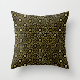 Gold Double Happiness Symbol in lotus pattern Throw Pillow