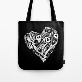Skeletal Love Heart  (Black) Skulls and Bones Tote Bag