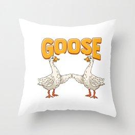 Cute & Funny Goose Bumps Goosebumps Animal Pun Throw Pillow