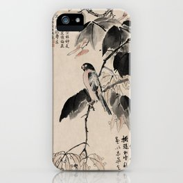 Ink Painting Calligraphy, Bird and Phoenix Tree, Wutong, Ming Dynasty, Hand Drawing Ancient Painting iPhone Case