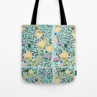 flower pattern Tote Bags featuring Flower Pattern by Jo Cheung Illustration