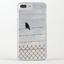 Single Black Bird on a Barbed Wire Fence Clear iPhone Case