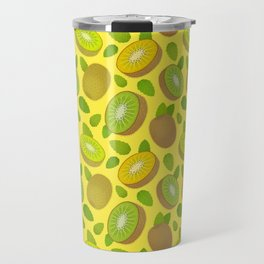 Kiwifruit Pattern Yellow Travel Mug