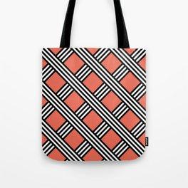 Pantone Living Coral, Black & White Diagonal Stripes Lattice Pattern Tote Bag