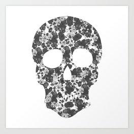 Black and White, Flower Skull Art Print