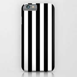 Midnight Black and White Vertical Beach Hut Stripes iPhone Case