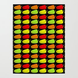 Bulgarian pepper. Pattern and background of colorful peppers on a black background Poster
