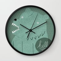 bear Wall Clocks featuring Friendly Bear by Sarajea