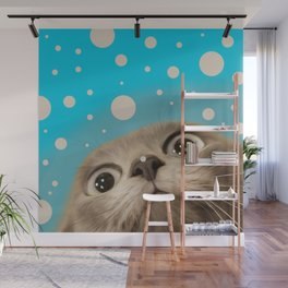 """Fun Kitty and Polka dots"" Wall Mural"