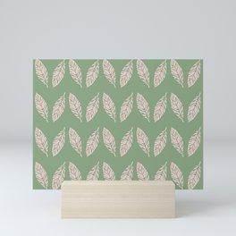 Tropical foliage Green Pink #tropical #leaves #homedecor Mini Art Print