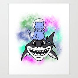 Blue Space Cat Riding A Shark Art Print