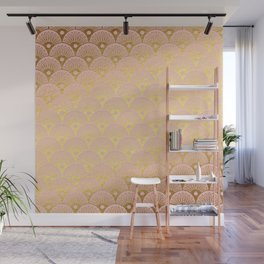 Gold and pink sparkling Mermaid pattern Wall Mural