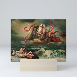 Remarkable neoclassical battle: Squid vs Whale vs 18 century American armed cargo ship Mini Art Print