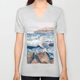 A Watercolor Seagull Named Fred (on Second Cliff in Scituate) Unisex V-Neck
