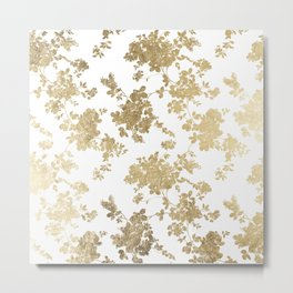 Girly elegant white faux gold vintage floral Metal Print