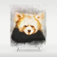 red panda Shower Curtains featuring Red panda by emegi