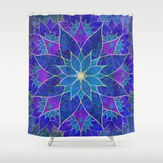 Lotus 2 - blue and purple Shower Curtain