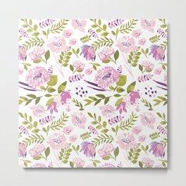 Pink Watercolour Flowers Metal Print