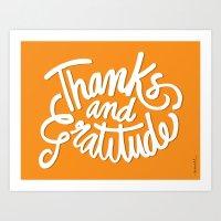 Thanks and Gratitude (Yellow) Art Print
