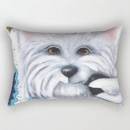 Westie Chickadee Garden Original Art Rectangular Pillow