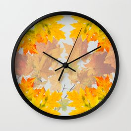 Autumn maple leaves, floral art Wall Clock