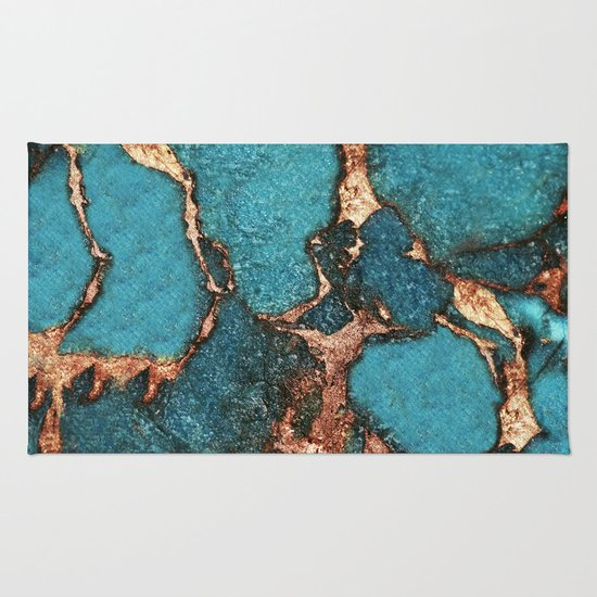 AQUA & GOLD GEMSTONE Rug By Monika Strigel
