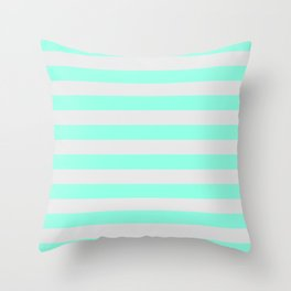 Mint Green & Gray Stripes Throw Pillow
