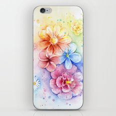 Flowers Watercolor Floral Colorful Rainbow Painting iPhone & iPod Skin