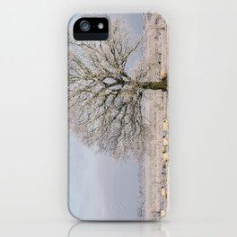 Sheep gathered under a tree covered in a thick hoar frost. Norfolk, UK. iPhone Case
