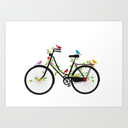 Old bicycle with birds Art Print