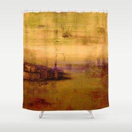golden abstract landscape Shower Curtain
