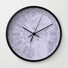 Ghostly alpaca and Lilac-gray mandala Wall Clock