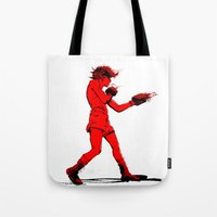 boxing Tote Bags featuring Boxing 2 by Rachel E. Morris