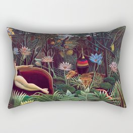The Dream by Henri Rousseau 1910 // Jungle Lion Flowers Native Female Laying Colorful Landscape Rectangular Pillow