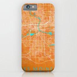 Des Moines, IA, USA, Gold, Blue, City, Map iPhone Case
