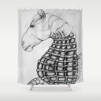 sea horse Shower Curtains featuring Sea Horse by Stephanie Darling