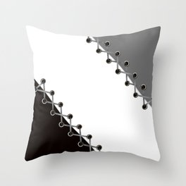 Lacing . Black , white and grey . Throw Pillow