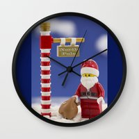 santa Wall Clocks featuring Santa by Pedro Nogueira