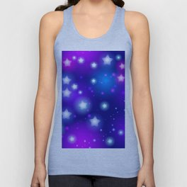 Milky Way Abstract pattern with neon stars on blue background Unisex Tank Top