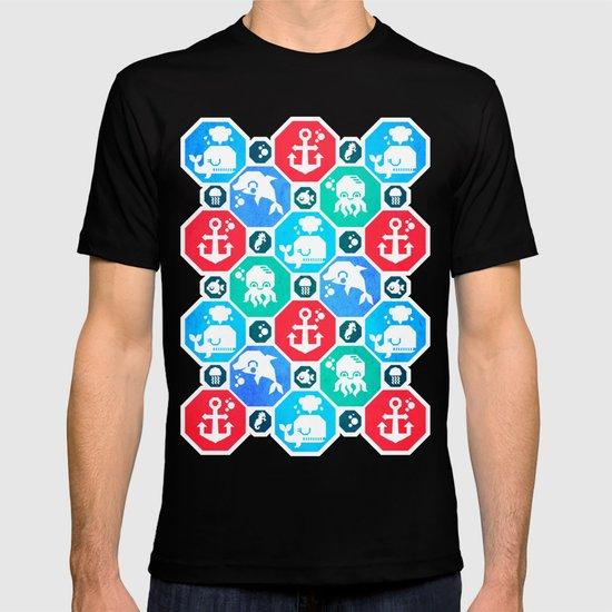 Marine Animals Geometric Pattern T-shirt