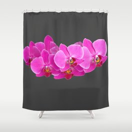 CHARCOAL GREY PURPLE PINK ORCHIDS Shower Curtain